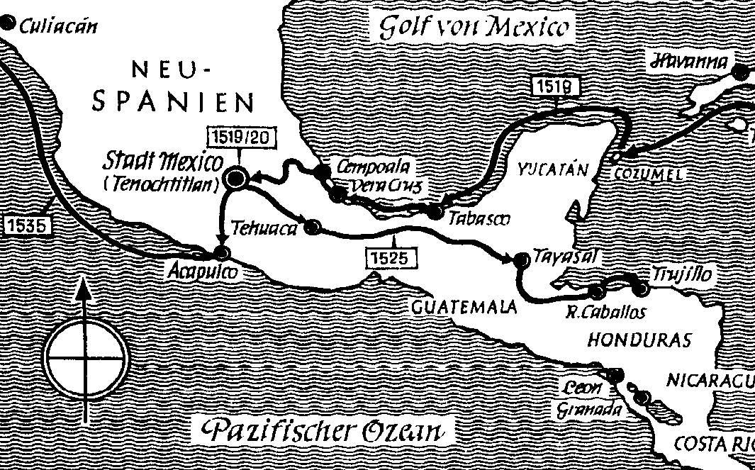 Hernan Cortes Route From Spain