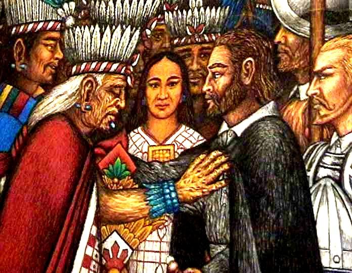 Der blinde Xicoténcatl der Ältere betastet Cortés